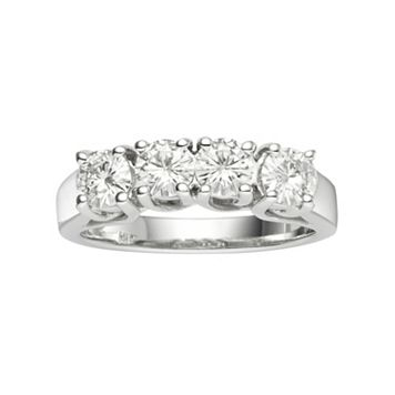 Forever Brilliant Lab-Created Moissanite 4-Stone Wedding Ring in 14k White Gold (9/10 Carat T.W.)