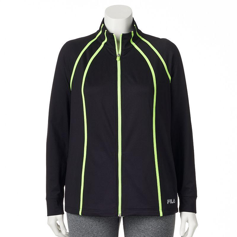 FILA Sport Fleece-Lined Workout Jacket - Women's Plus Size (Black)