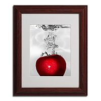 14'' x 11'' ''Red Apple Splash'' Framed Canvas Wall Art