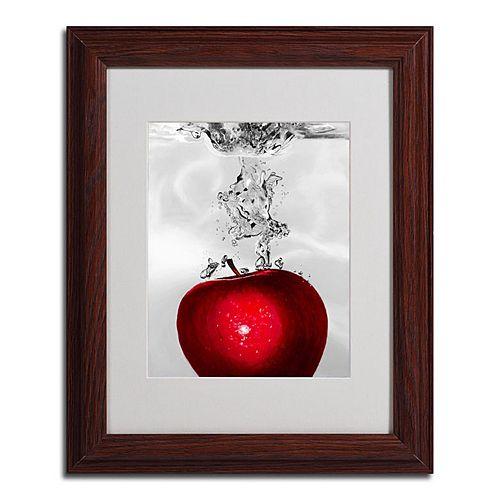 14'' x 11'' ''Red Apple Splash'' Framed Canvas Wall Art