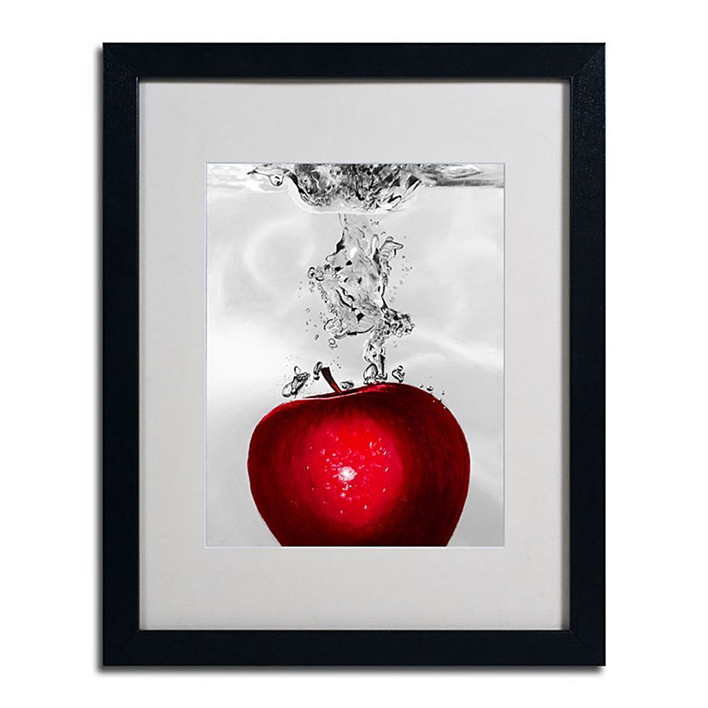 20'' x 16'' ''Red Apple Splash'' Framed Canvas Wall Art