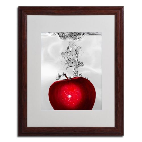 "20"" x 16"" ""Red Apple Splash"" Framed Canvas Wall Art"