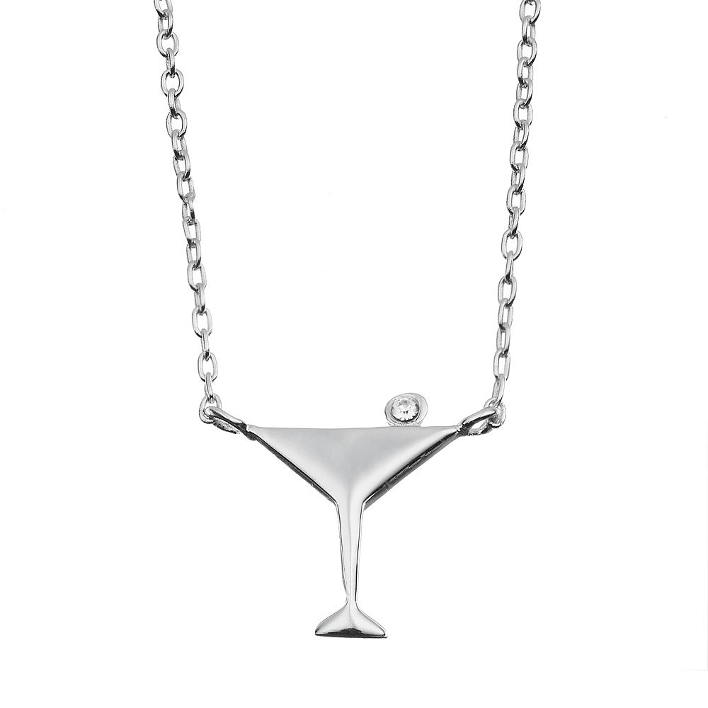 Crystal Sterling Silver Martini Glass Necklace