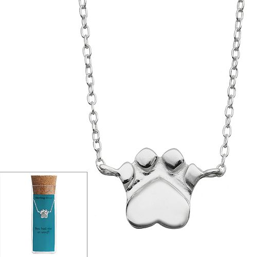 Sterling Silver Dog Paw Necklace