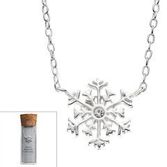 Crystal Sterling Silver Snowflake Necklace