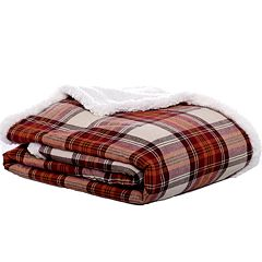 Eddie Bauer Edgewood Plaid Flannel & Sherpa Reversible Throw