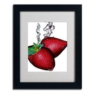 11'' x 14'' ''Strawberry Splash II'' Framed Canvas Wall Art