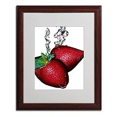 16'' x 20'' ''Strawberry Splash II'' Framed Canvas Wall Art