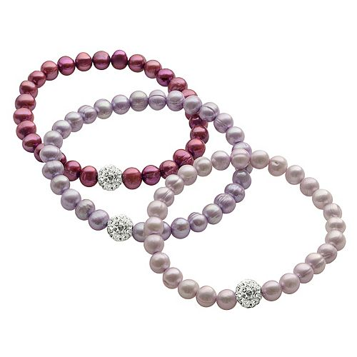 PearLustre by Imperial Dyed Freshwater Cultured Pearl & Crystal Stretch Bracelet Set
