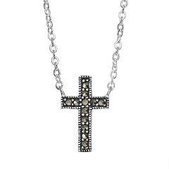 Silver Luxuries Marcasite Silver-Plated Cross Necklace