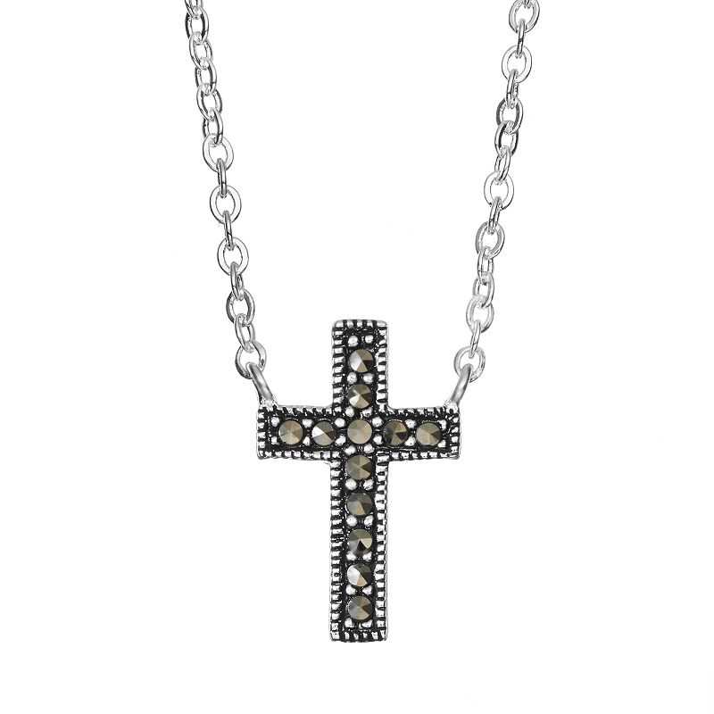 Silver Luxuries Marcasite Silver-Plated Cross Necklace, Women's, Grey