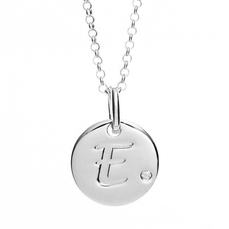 Little Diva Diamonds Diamond Accent Sterling Silver Initial Pendant Necklace - Kids (Grey)