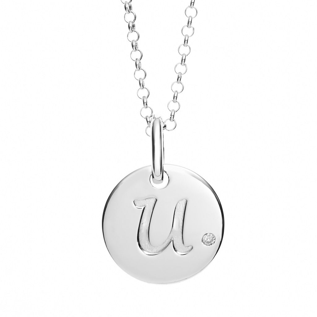 Little Diva Diamonds Diamond Accent Sterling Silver Initial Pendant Necklace - Kids