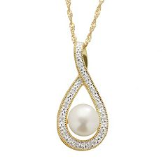 PearLustre by Imperial Freshwater Cultured Pearl & Diamond Accent 14k Gold Over Silver Teardrop Pendant Necklace