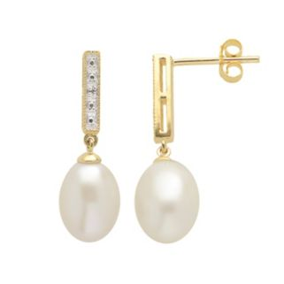 PearLustre by Imperial Freshwater Cultured Pearl and Diamond Accent 14k Gold Over Silver Drop Earrings