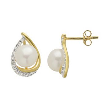PearLustre by Imperial Freshwater Cultured Pearl and Diamond Accent 14k Gold Over Silver Teardrop Stud Earrings
