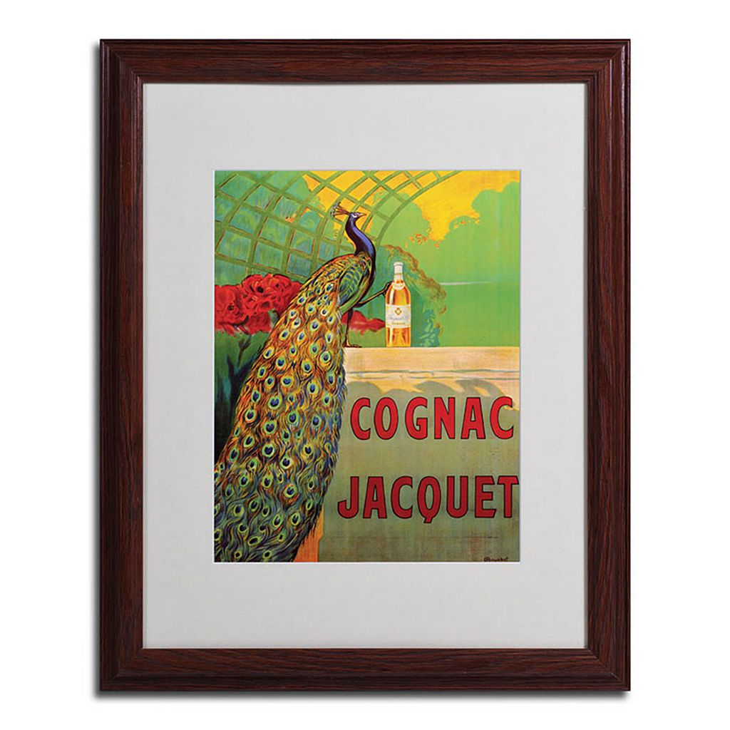 20'' x 16'' ''Cognac Jacquet'' Peacock Framed Canvas Wall Art