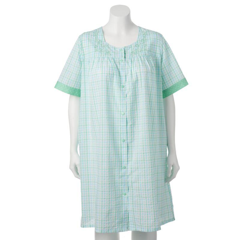 Croft & Barrow Woven Knit Snap Duster Robe - Women's Plus Size