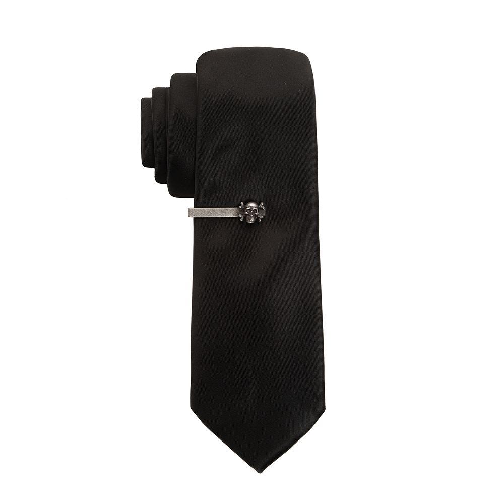 Men's Apt. 9® Solid Skinny Tie with Skull Tie Bar