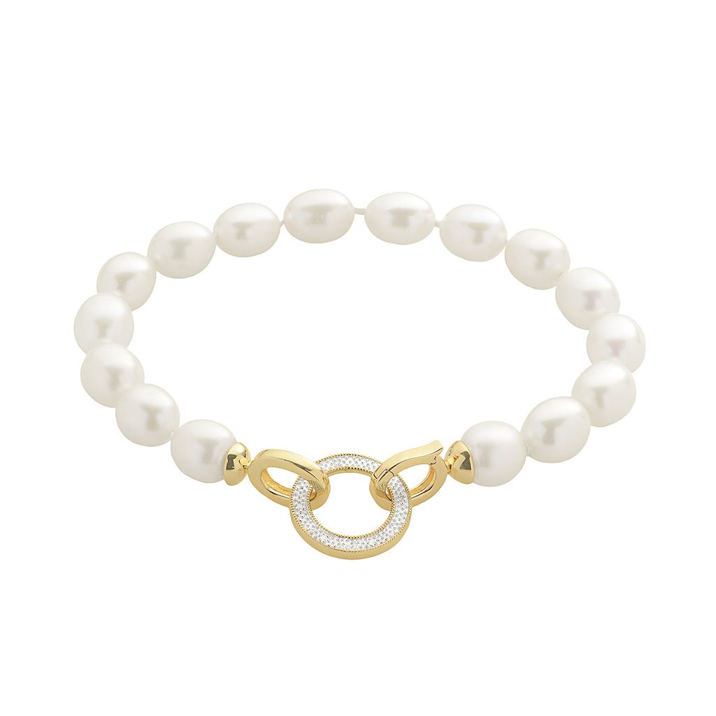 PearLustre by Imperial Freshwater Cultured Pearl & Diamond Accent 14k Gold Over Silver Bracelet