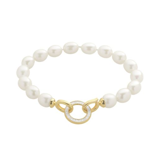 PearLustre by Imperial Freshwater Cultured Pearl and Diamond Accent 14k Gold Over Silver Bracelet