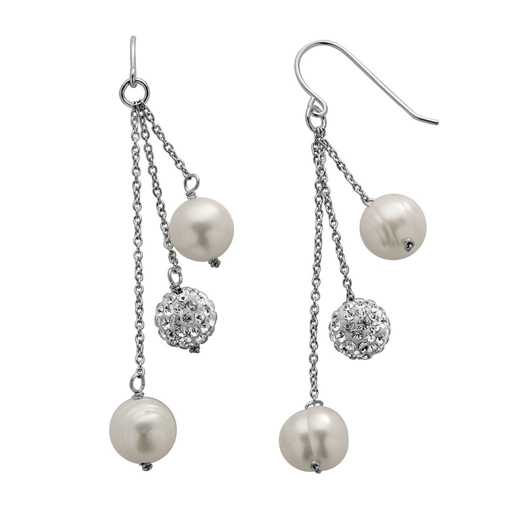 PearLustre by Imperial Freshwater Cultured Pearl & Crystal Sterling Silver Linear Drop Earrings