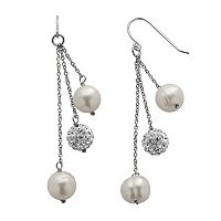 PearLustre by Imperial Freshwater Cultured Pearl & Crystal Sterling Silver Linear Drop Earrings
