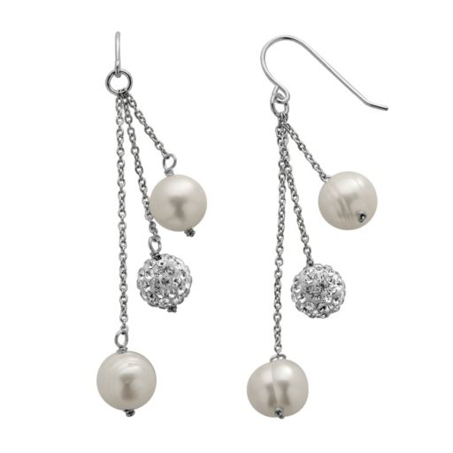 PearLustre by Imperial Freshwater Cultured Pearl and Crystal Sterling Silver Linear Drop Earrings