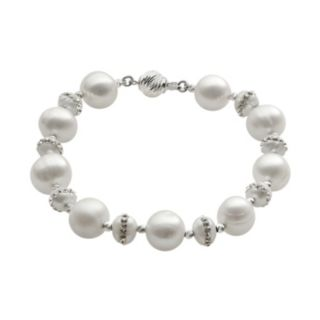 PearLustre by Imperial Freshwater Cultured Pearl and Crystal Sterling Silver Bracelet