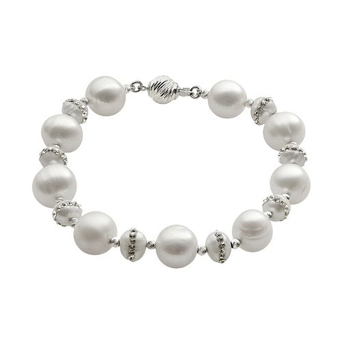 PearLustre by Imperial Freshwater Cultured Pearl & Crystal Sterling Silver Bracelet