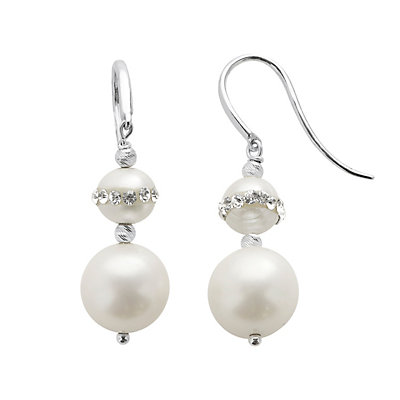 PearLustre by Imperial Freshwater Cultured Pearl and Crystal Sterling Silver Drop Earrings