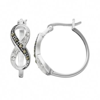 Silver Luxuries Marcasite and Crystal Silver-Plated Infinity Hoop Earrings
