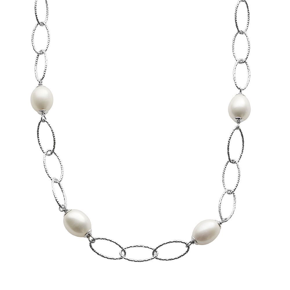 PearLustre by Imperial Freshwater Cultured Pearl Sterling Silver Textured Oval Link Station Necklace