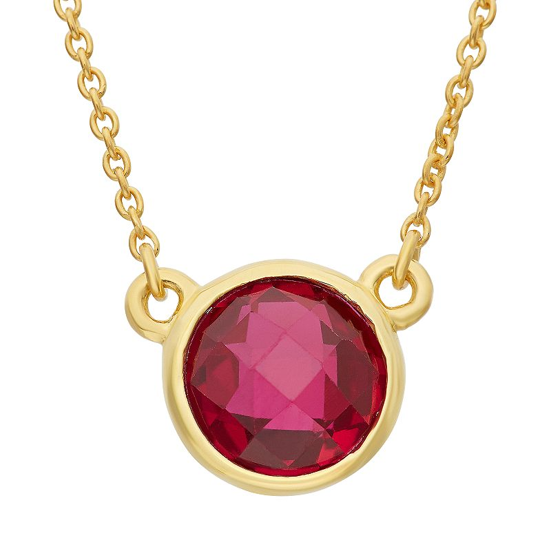 Lab-Created Ruby 14k Gold Over Silver Solitaire Necklace