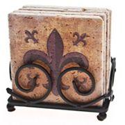 Thirstystone 4 pc Fleur-de-Lis Travertine Coaster Set with Scroll Holder