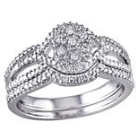Stella Grace Diamond Engagement Ring Set in Sterling Silver (1/7 Carat T.W.)