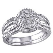 Diamond Engagement Ring Set in Sterling Silver (1/7 Carat T.W.)