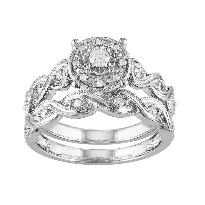 Diamond Twist Engagement Ring Set in Sterling Silver (1/5 Carat T.W.) (White)