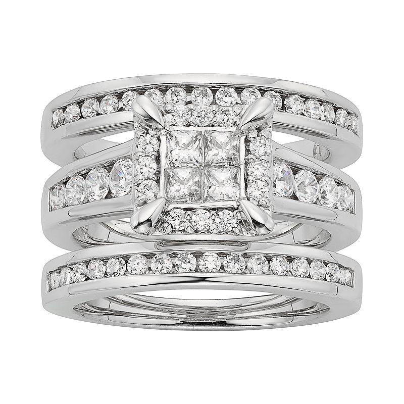 Diamond Square Halo Engagement Ring Set in 10k White Gold (1 1/3 Carat T.W.)