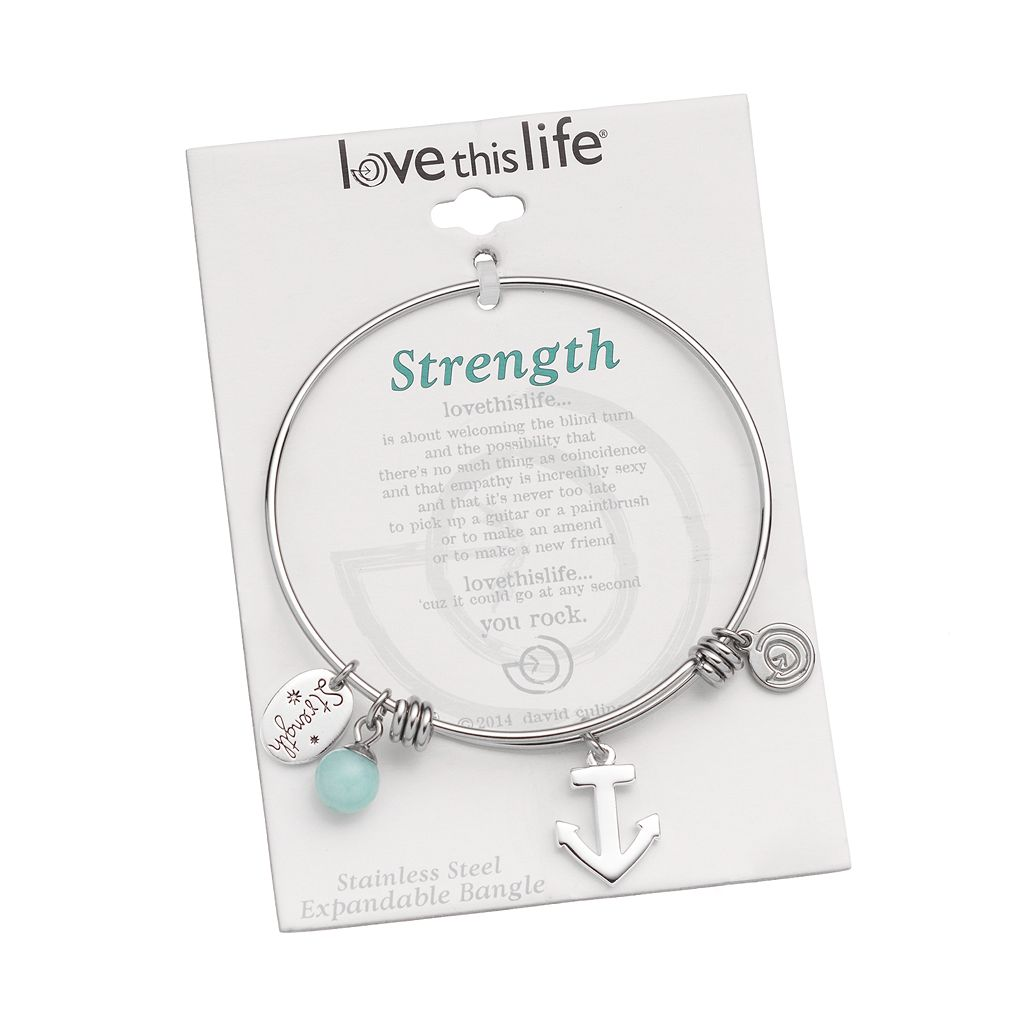 love this life Amazonite Stainless Steel '' Strength'' Charm Bangle Bracelet