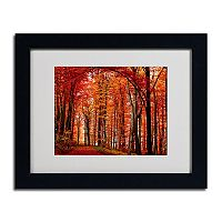 11'' x 14'' ''The Red Way'' Autumn Framed Canvas Wall Art