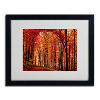 16'' x 20'' ''The Red Way'' Autumn Framed Canvas Wall Art