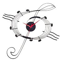 Music G Clef Metal Wall Clock