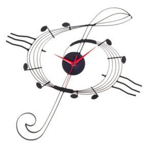 Music G Clef Metal Wall Clock