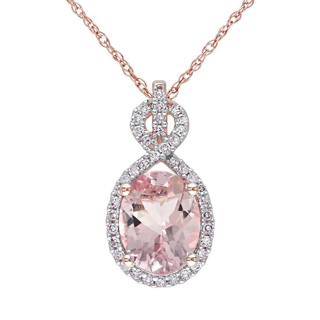 Morganite & 1/6 Carat T.W. Diamond 10k Rose Gold Pendant Necklace