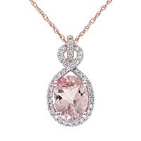Morganite & 1/6 Carat T.W. Diamond 10k Rose Gold Pendant Necklace