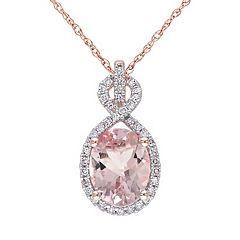 Stella Grace Morganite and 1/6 Carat T.W. Diamond 10k Rose Gold Pendant Necklace