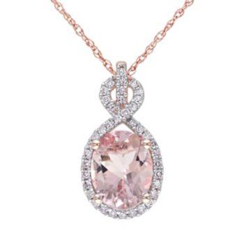 Stella Grace Morganite and 1/6 Carat T.W. Diamond 10k Rose Gold Pendant Necklace