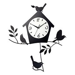 Birds & Birdhouse Pendulum Wall Clock