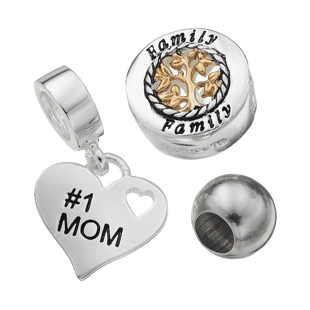 Individuality Beads Sterling Silver Two Tone Family Tree Bead & Mom Heart Charm Set